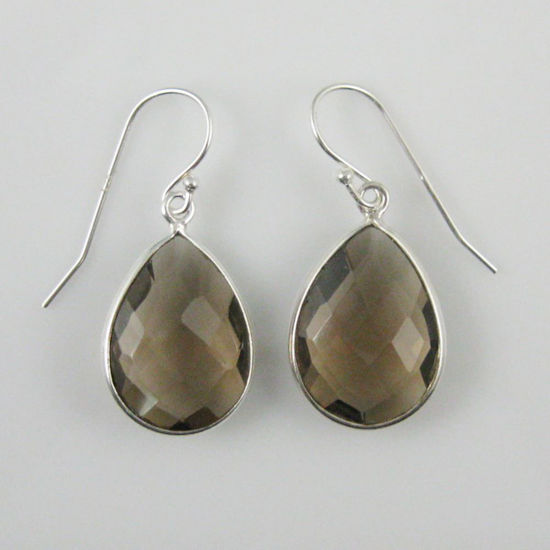 Wholesale Bezel Gemstone Tear Shaped Pendant Earrings - Sterling Silver Hooks - Smoky Quartz