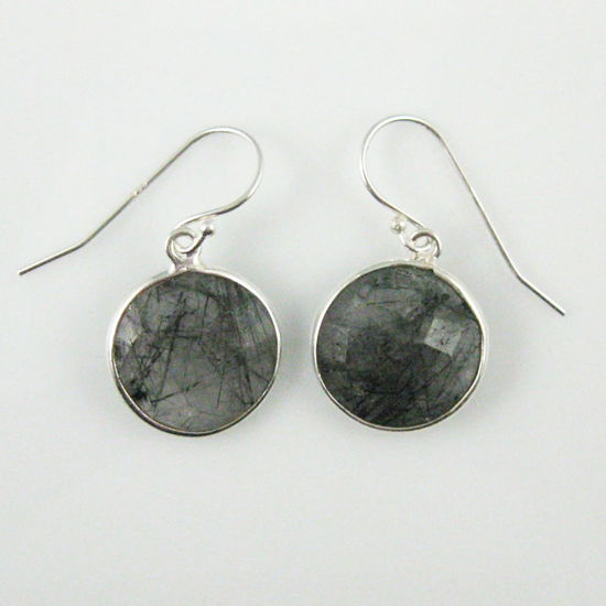 Wholesale Bezel Gemstone Round Pendant Earrings - Sterling Silver Hooks - Black Rutilated Quartz