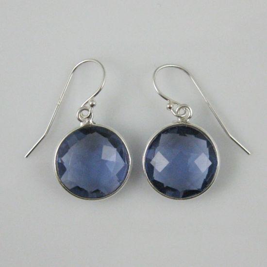 Wholesale Bezel Gemstone Round Pendant Earrings - Sterling Silver Hooks - Iolite Quartz