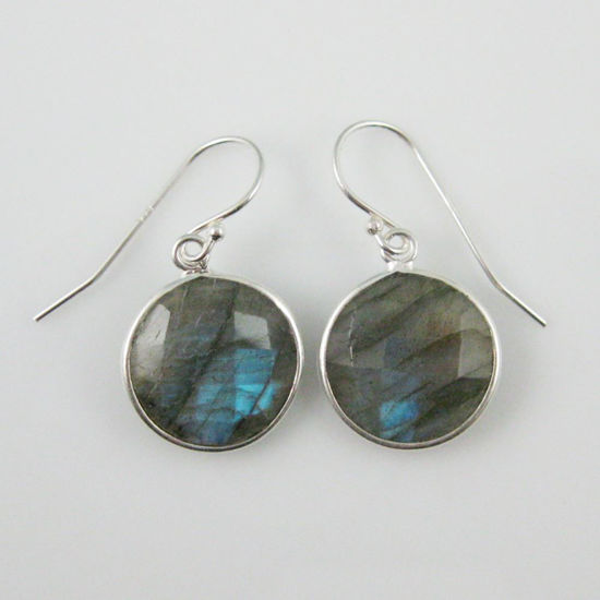 Wholesale Bezel Gemstone Round Pendant Earrings - Sterling Silver Hooks - Labradorite
