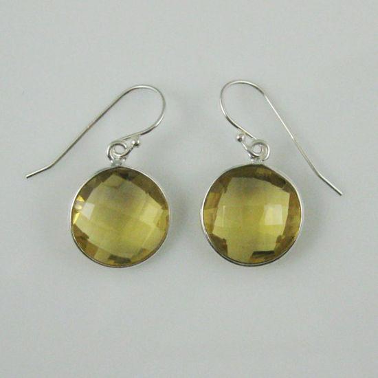 Wholesale Bezel Gemstone Round Pendant Earrings - Sterling Silver Hooks - Lemon Quartz