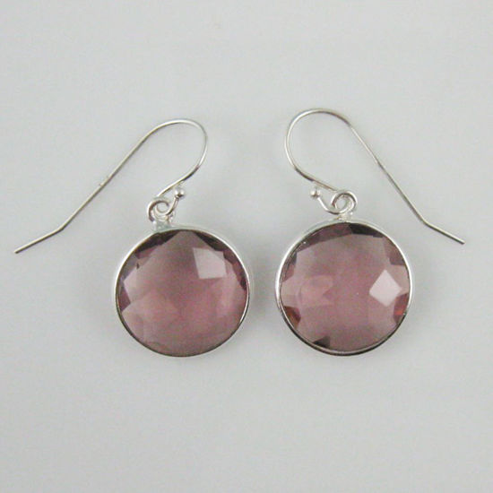 Wholesale Bezel Gemstone Round Pendant Earrings - Sterling Silver Hooks - Pink Amethyst Quartz