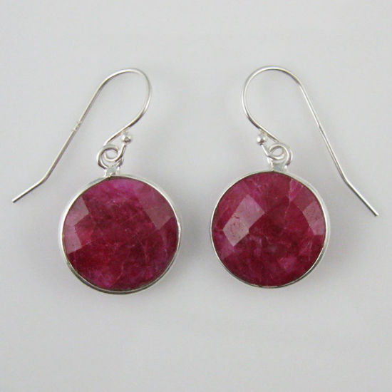 Wholesale Bezel Gemstone Round Pendant Earrings - Sterling Silver Hooks - Ruby Dyed
