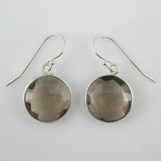 Wholesale Bezel Gemstone Round Pendant Earrings - Sterling Silver Hooks - Smoky Quartz