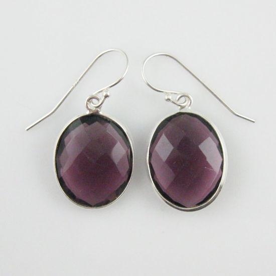 Wholesale Bezel Gemstone Oval Shaped Pendant Earrings - Sterling Silver Hooks - Amethyst