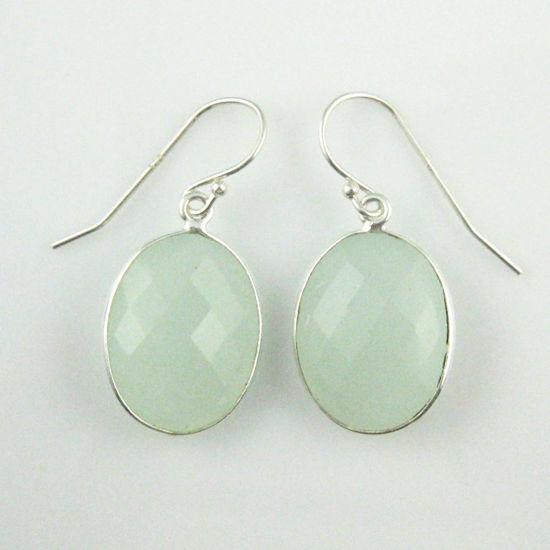 Wholesale Bezel Gemstone Oval Shaped Pendant Earrings - Sterling Silver Hooks - Aqua Chalcedony