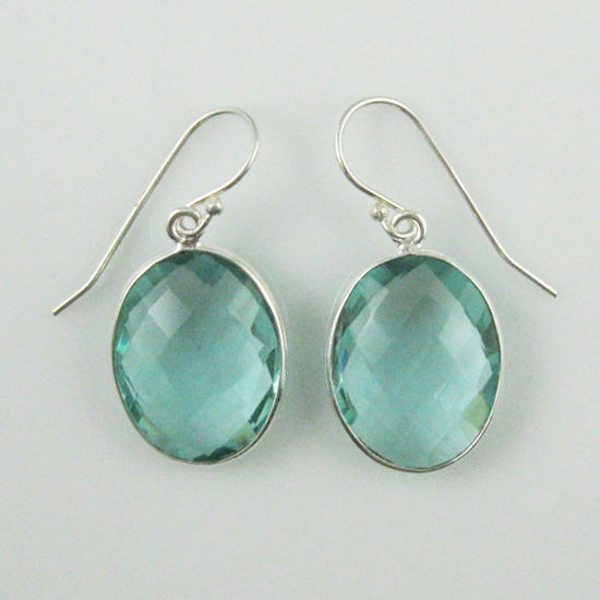 Wholesale Bezel Gemstone Oval Shaped Pendant Earrings - Sterling Silver Hooks - Aqua Quartz