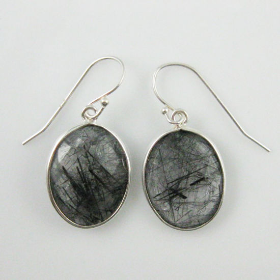 Wholesale Bezel Gemstone Oval Shaped Pendant Earrings - Sterling Silver Hooks - Black Rutilated Quartz
