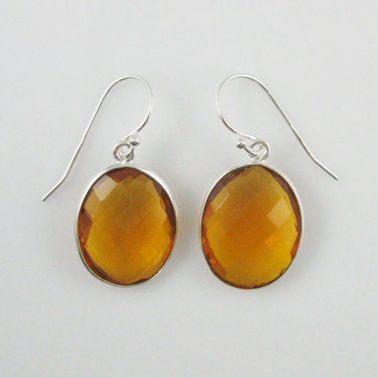 Wholesale Bezel Gemstone Oval Shaped Pendant Earrings - Sterling Silver Hooks - Citrine Quartz