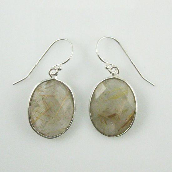 Wholesale Bezel Gemstone Oval Shaped Pendant Earrings - Sterling Silver Hooks - Gold Rutilated Quartz