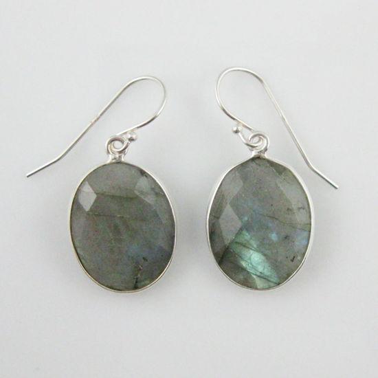 Wholesale Bezel Gemstone Oval Shaped Pendant Earrings - Sterling Silver Hooks -Labradorite