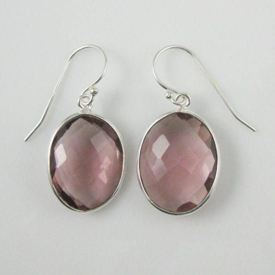 Wholesale Bezel Gemstone Oval Shaped Pendant Earrings - Sterling Silver Hooks - Pink Amethyst Quartz