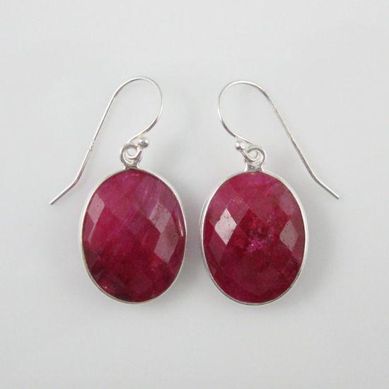 Wholesale Bezel Gemstone Oval Shaped Pendant Earrings - Sterling Silver Hooks - Ruby Dyed