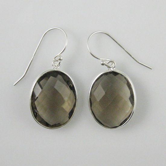 Wholesale Bezel Gemstone Oval Shaped Pendant Earrings - Sterling Silver Hooks - Smoky Quartz