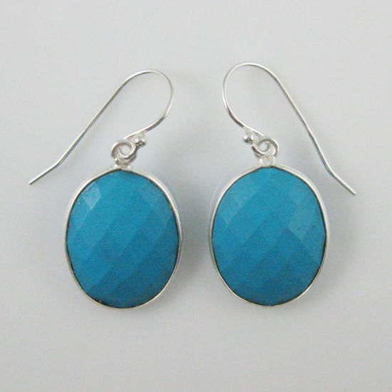 Wholesale Bezel Gemstone Oval Shaped Pendant Earrings - Sterling Silver Hooks - Turquoise