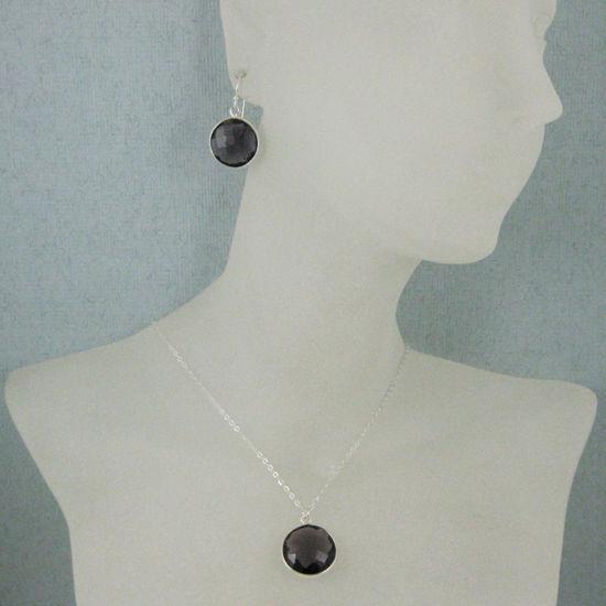 "Wholesale Bezel Gem Round Pendant Necklace & Earrings-Sterling Silver-Amethyst (16-24"")"