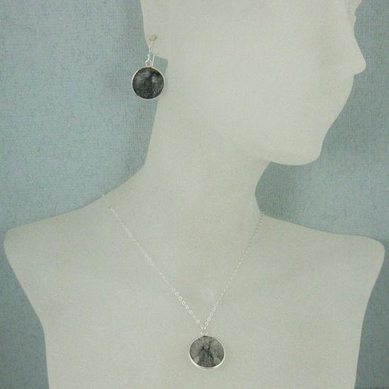 "Wholesale Bezel Gem Round Pendant Necklace & Earrings-Sterling Silver-Black Rutilated Quartz (16-24"")"