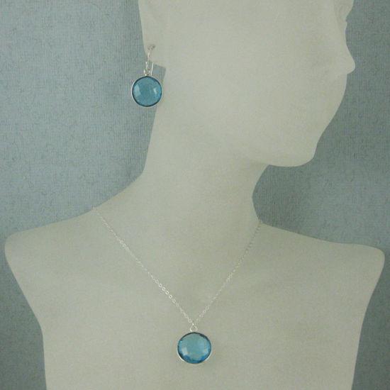 "Wholesale Bezel Gem Round Pendant Necklace & Earrings-Sterling Silver-Blue Topaz (16-24"")"
