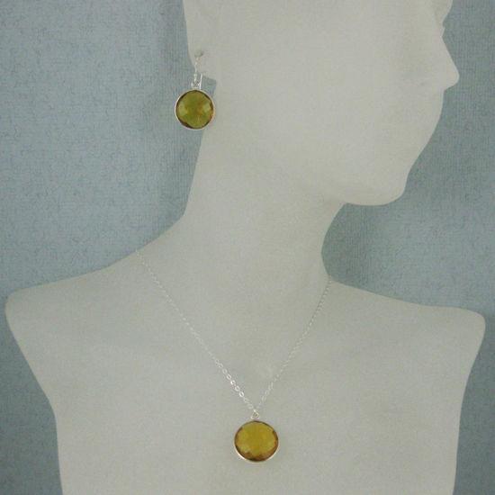 """Wholesale Bezel Gem Round Pendant Necklace & Earrings-Sterling Silver-Citrine Quartz (16-24"""")"""