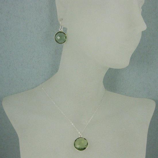 "Wholesale Bezel Gem Round Pendant Necklace & Earrings-Sterling Silver-Green Amethyst Quartz (16-24"")"