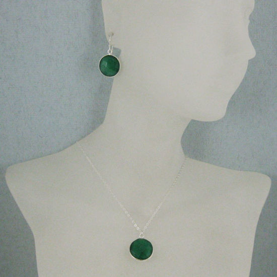 "Wholesale Bezel Gem Round Pendant Necklace & Earrings-Sterling Silver- Green Onyx (16-24"")"