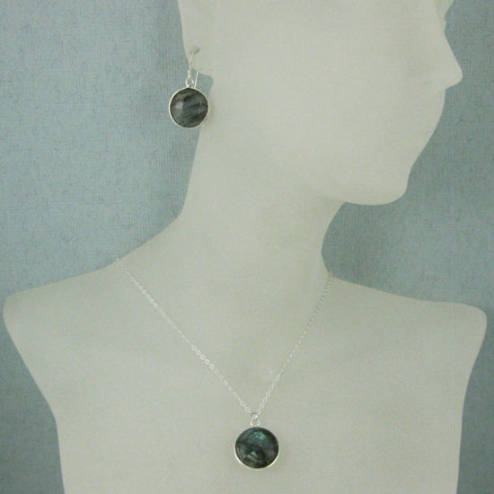 "Wholesale Bezel Gem Round Pendant Necklace & Earrings-Sterling Silver-Labradorite (16-24"")"