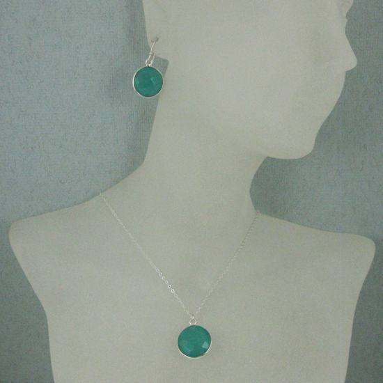 "Wholesale Bezel Gem Round Pendant Necklace & Earrings-Sterling Silver-Peru Chalcedony (16-24"")"