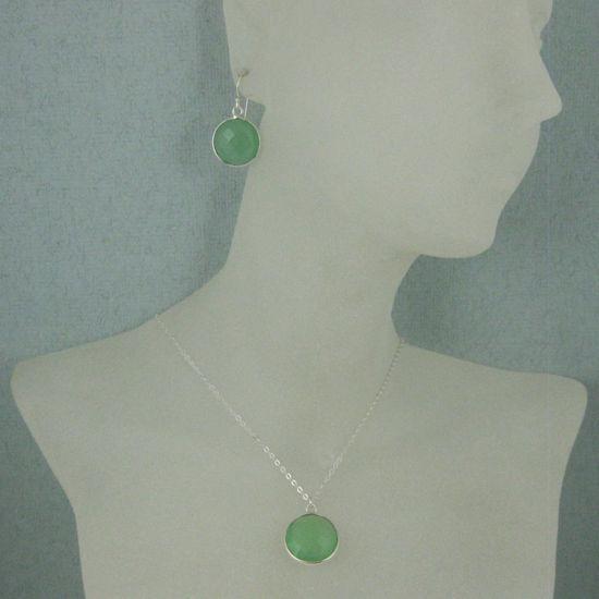 "Wholesale Bezel Gem Round Pendant Necklace & Earrings-Sterling Silver-Prenite Chalcedony (16-24"")"