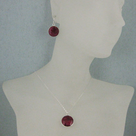 "Wholesale Bezel Gem Round Pendant Necklace & Earrings-Sterling Silver-Ruby Dyed (16-24"")"