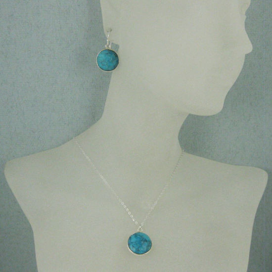 """Wholesale Bezel Gem Round Pendant Necklace & Earrings-Sterling Silver-Turquoise (16-24"""")"""