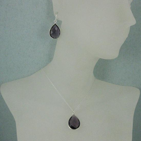 """Wholesale Bezel Gem Tear Pendant Necklace & Earrings - Sterling Silver-Amethyst (16-24"""")"""