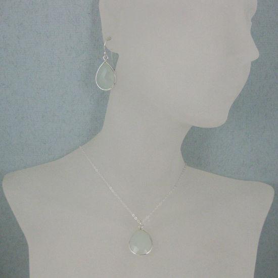"""Wholesale Bezel Gem Tear Pendant Necklace & Earrings - Sterling Silver-Aqua Chalcedony (16-24"""")"""