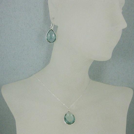 """Wholesale Bezel Gem Tear Pendant Necklace & Earrings - Sterling Silver-Aqua Quartz (16-24"""")"""