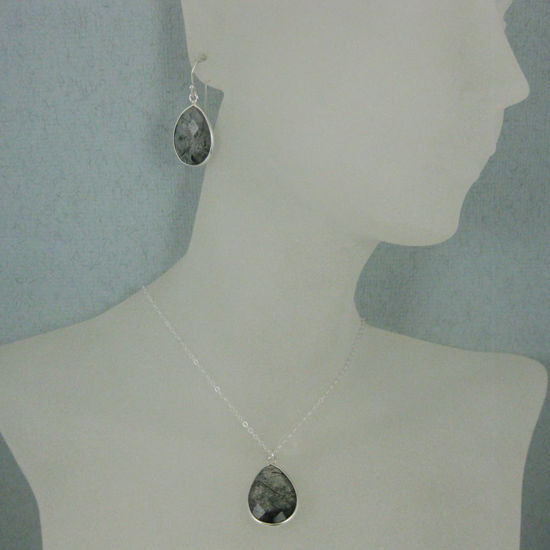 "Wholesale Bezel Gem Tear Pendant Necklace & Earrings - Sterling Silver-Black Rutilated Quartz (16-24"")"