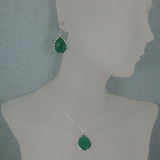 """Wholesale Bezel Gem Tear Pendant Necklace & Earrings - Sterling Silver-Green Onyx (16-24"""")"""