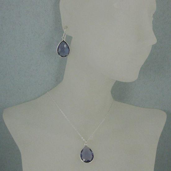 "Wholesale Bezel Gem Tear Pendant Necklace & Earrings - Sterling Silver-Iolite Quartz (16-24"")"