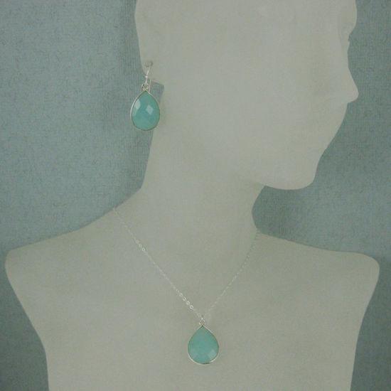 """Wholesale Bezel Gem Tear Pendant Necklace & Earrings - Sterling Silver-Peru Chalcedony (16-24"""")"""