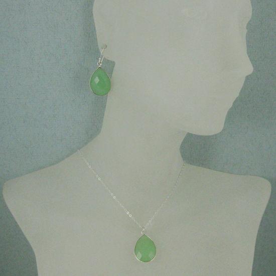 """Wholesale Bezel Gem Tear Pendant Necklace & Earrings - Sterling Silver-Prenite Chalcedony (16-24"""")"""