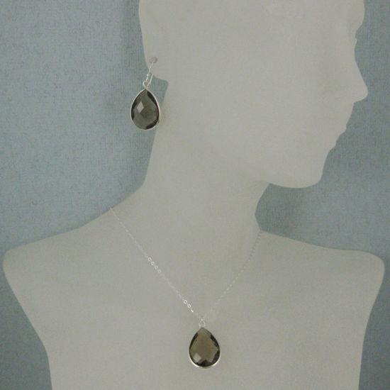 "Wholesale Bezel Gem Tear Pendant Necklace & Earrings - Sterling Silver-Smoky Quartz (16-24"")"
