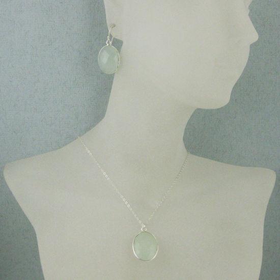 """Wholesale Bezel Gem Oval Pendant Necklace & Earrings - Sterling Silver-Aqua Chalcedony (16-24"""")"""