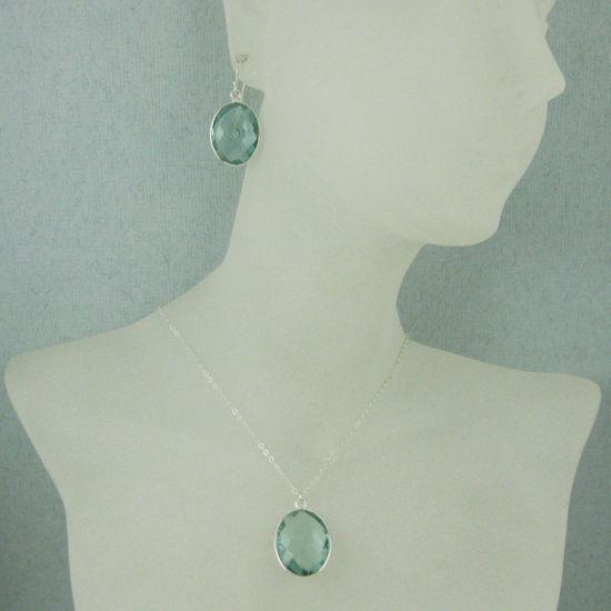 """Wholesale Bezel Gem Oval Pendant Necklace & Earrings - Sterling Silver-Aqua Quartz(16-24"""")"""