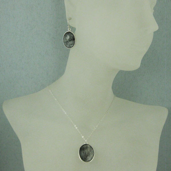 "Wholesale Bezel Gem Oval Pendant Necklace & Earrings - Sterling Silver-Black Rutilated Quartz (16-24"")"