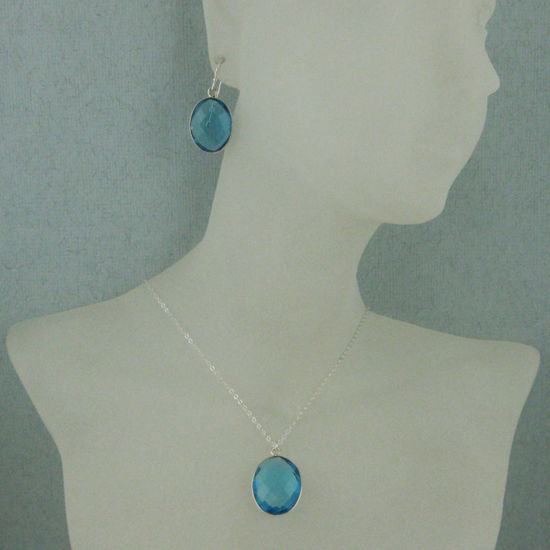 "Wholesale Bezel Gem Oval Pendant Necklace & Earrings - Sterling Silver-Blue Topaz (16-24"")"