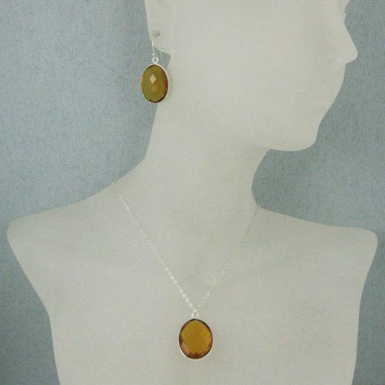 "Wholesale Bezel Gem Oval Pendant Necklace & Earrings - Sterling Silver-Citrine Quartz (16-24"")"