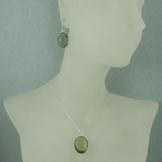 """Wholesale Bezel Gem Oval Pendant Necklace & Earrings - Sterling Silver-Green Amethyst Quartz (16-24"""")"""
