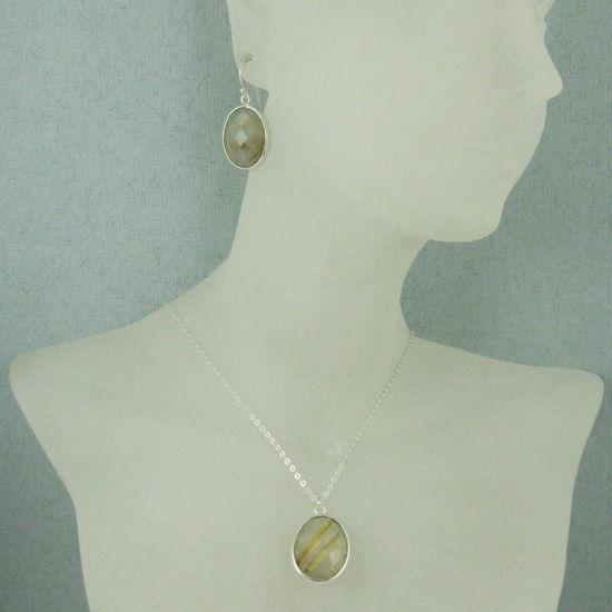 "Wholesale Bezel Gem Oval Pendant Necklace & Earrings - Sterling Silver-Gold Rutilated Quartz (16-24"")"