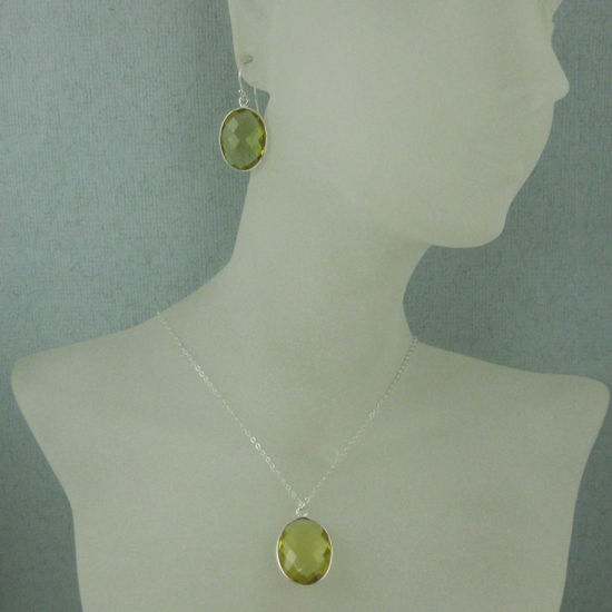 "Wholesale Bezel Gem Oval Pendant Necklace & Earrings - Sterling Silver-Lemon Quartz (16-24"")"