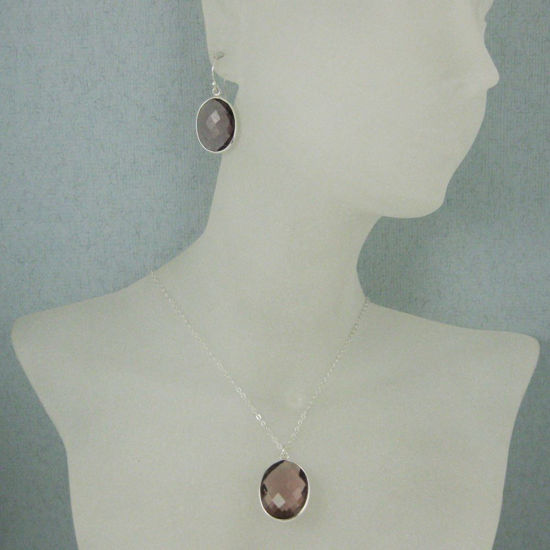 "Wholesale Bezel Gem Oval Pendant Necklace & Earrings - Sterling Silver-Pink Amethyst Quartz (16-24"")"