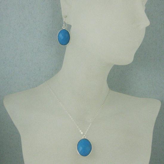 "Wholesale Bezel Gem Oval Pendant Necklace & Earrings - Sterling Silver-Turquoise (16-24"")"