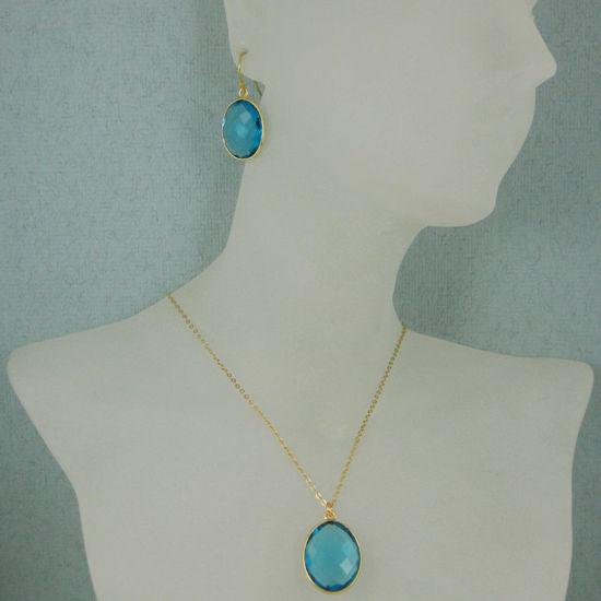 "Wholesale Bezel Gemstone Oval Pendant Necklace & Earrings-Gold Plated-Blue Quartz(16-24"")"